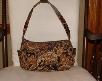 Brown Gold Quilted Fabric Purse