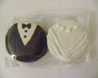 Bride Groom Chocolate Covered Oreos Wedding Favor Tuxedo Dress 6 Sets Packaged