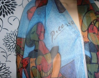 Vintage Headscarf Blue Sheer Scarf depicting the artwork of Picasso