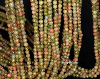 3mm Lotus Pond Unakite Gemstone Round 3mm Loose Beads 16 inch Full Strand (90114013-107 - 3mm B)