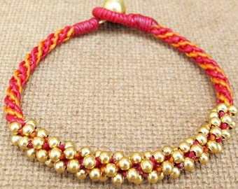 Two Tone Hot Red and Orange Wax Cord  Macrame Bracelet with Brass Bead