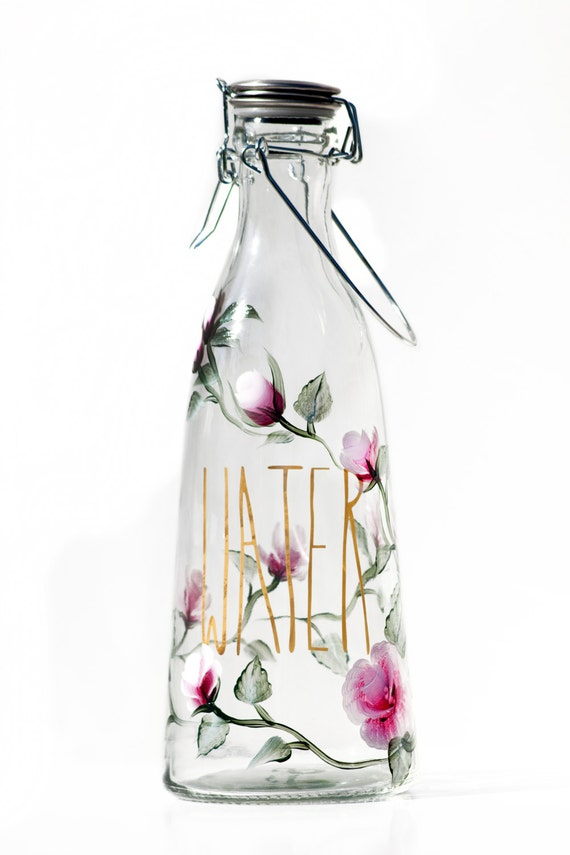 1 liter hand painted glass water bottle pink and white rose. Black Bedroom Furniture Sets. Home Design Ideas