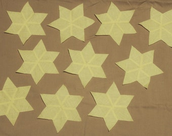 Set of 10 ~Hand-Pieced~ Yellow Six-Pointed Star