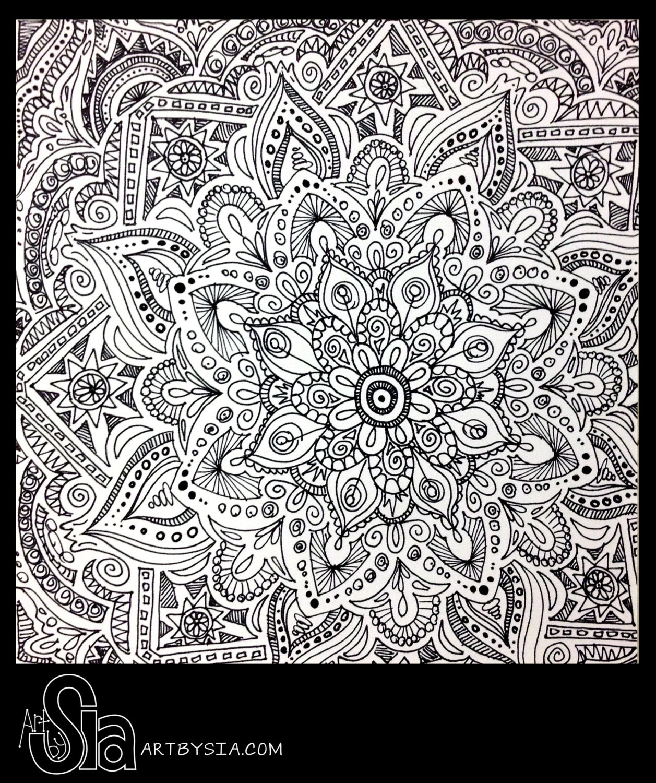 Original zentangle doodle drawing modern abstract art pen for Designs for doodle art