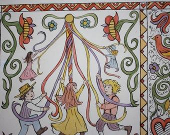 Folk Art Fraktur Painting