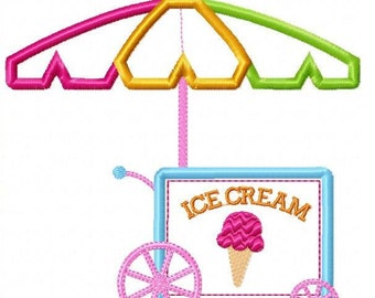 Ice Cream Cart Machine Embroidery Design