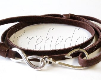 Silver Infinity Fish Hook Bracelet on Chocolate Brown Leather