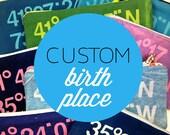 CUSTOM Birth Place Sun Print Longitude Latitude Bag