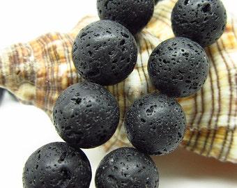 "16"" 12mm  Natural  Black  Lava   Rock Beads"