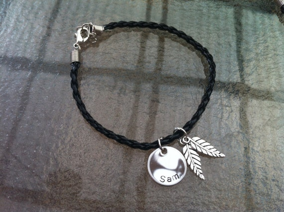 Personalized Leather Bracelet with Leaf Charms.