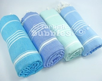 BEACH Towels, Towel Set of 4, Turkish Towel, Peshtemal, Fouta, Turkish Bath Towel, Pareo, Sarong, Hammam Towel, Spa Gym Towel