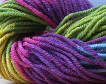 Hand Dyed Organic Wool. Rainbow, Plant Dyed. 50g