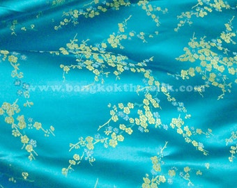 Silk Cherry Blossoms / Dogwood  Brocade Turquoise & Gold Fabric by YARD