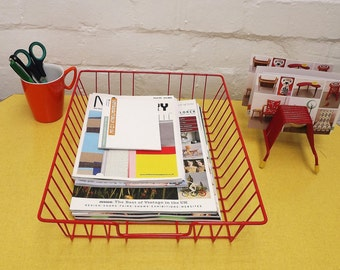 Red vintage filing tray