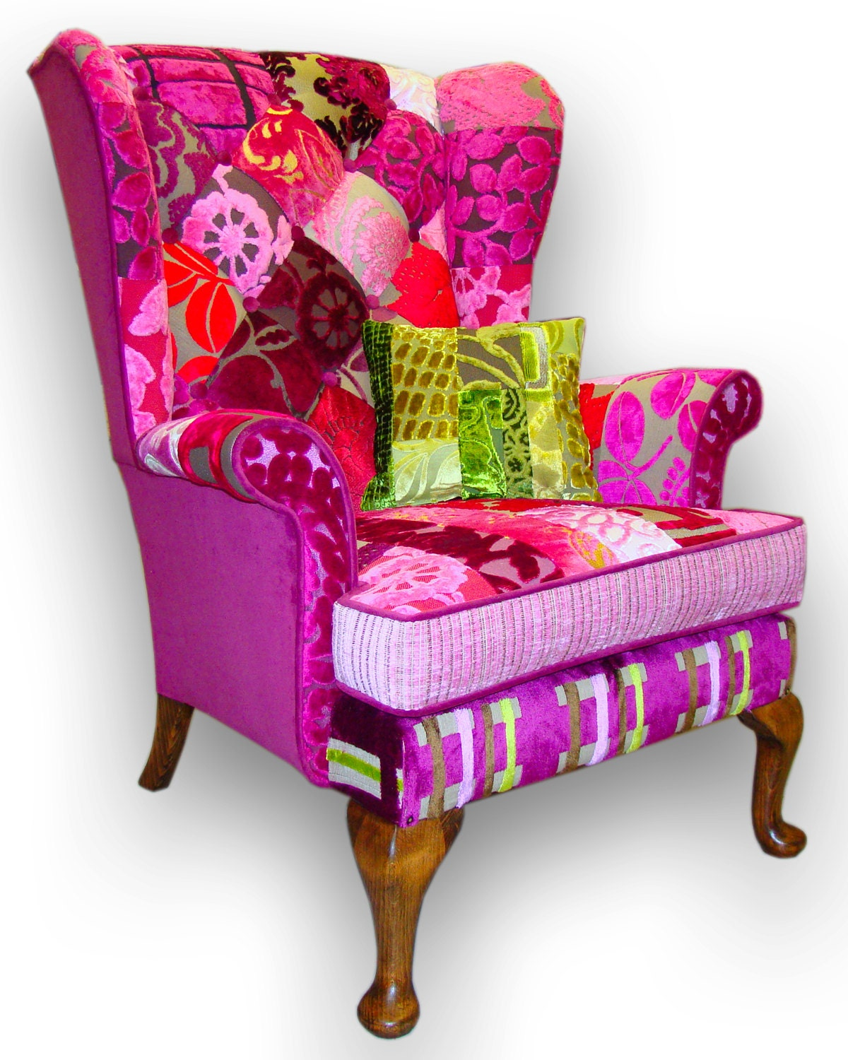 Patchwork Wing Back Armchair In Designers Guild Velvets