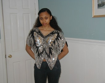Vintage sequined butterfly top.(70's/80's)