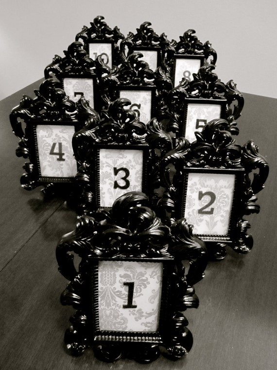 Items Similar To Black Baroque Amp Damask Table Numbers With