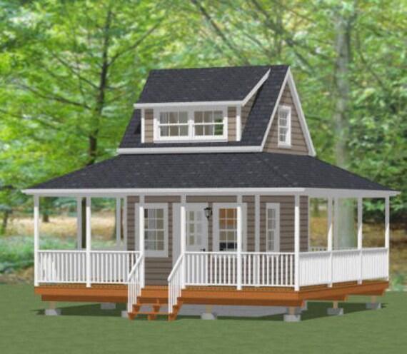 Items similar to 12x12 house w loft wrap around porch for House plans with loft and wrap around porch