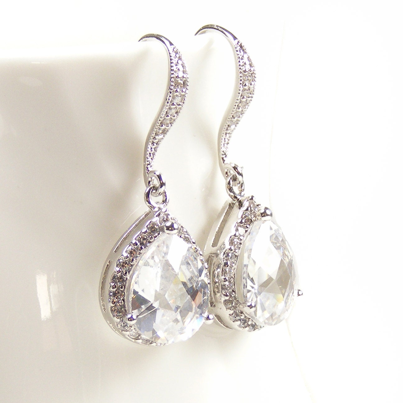 Crystal Bridal Earrings, Estate Style Bridal Jewelry, Drop Earrings with Silver & Crystal Teardrops