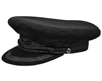 Kashubia type Merchant Fleet Officer / Sailor / Mariner / Captains hat Peaked Cap Wool - black