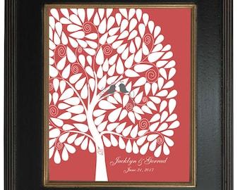 Modern Guest Book Alternative, Signature tree, 20x24 - Personalized Print Art Print, 146 guest sign in - Custom Tree Art Print  - 128