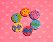 Oh Fifi Sea Creatures 4 Pinback Button Set