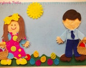 Storybook Felts Felt My Little Easter 2 Doll Storyboard Play Set 35 PCS Paper Doll Easter