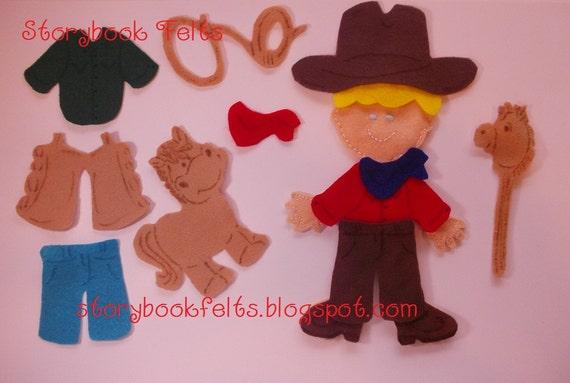Storybook Felts Felt My LIittle Cowboy Doll Dress Up Set 15 PCS Made To Order