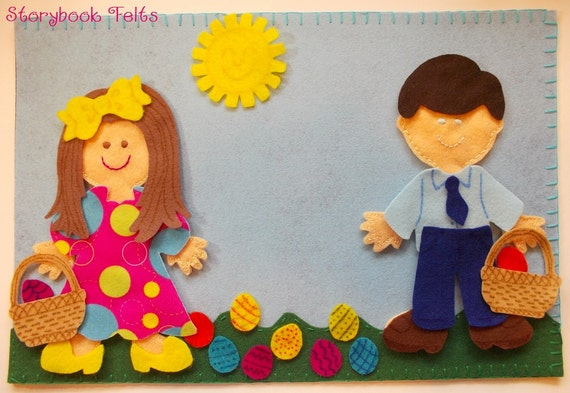 Storybook Felts Felt My Little Easter 2 Doll Storyboard Play Set 35 PCS Paper Doll Easter
