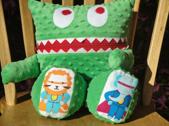 Animal Pillow That Turns Into Pajamas : Animal Superheros Green Cuddle Minky Monster Pajama Eaters