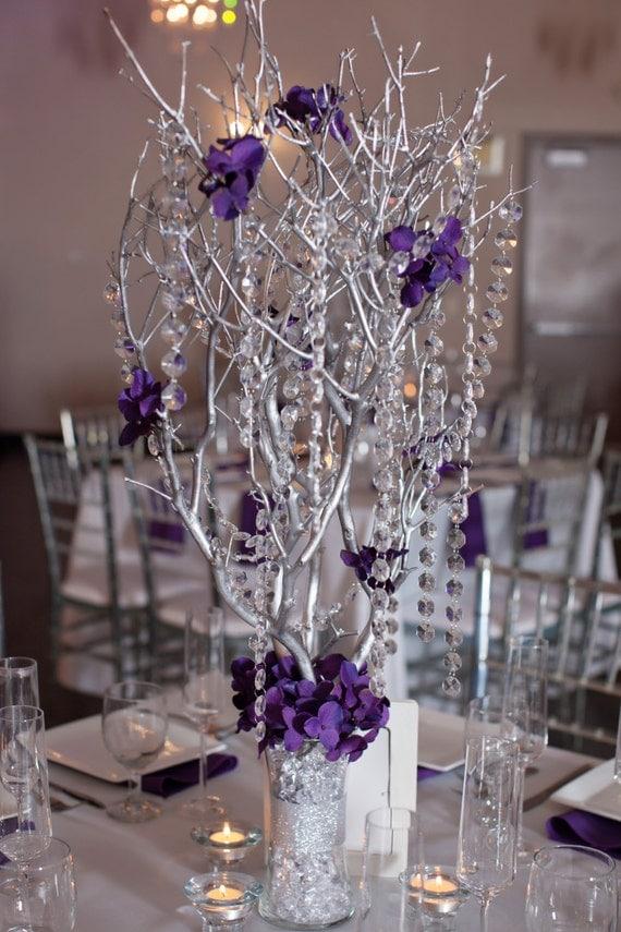 Crystal Manzanita Silver Branch Tree Centerpieces