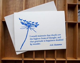 Letterpress Card Thank You G. K. Chesterton Quote Queen Anne's Lace