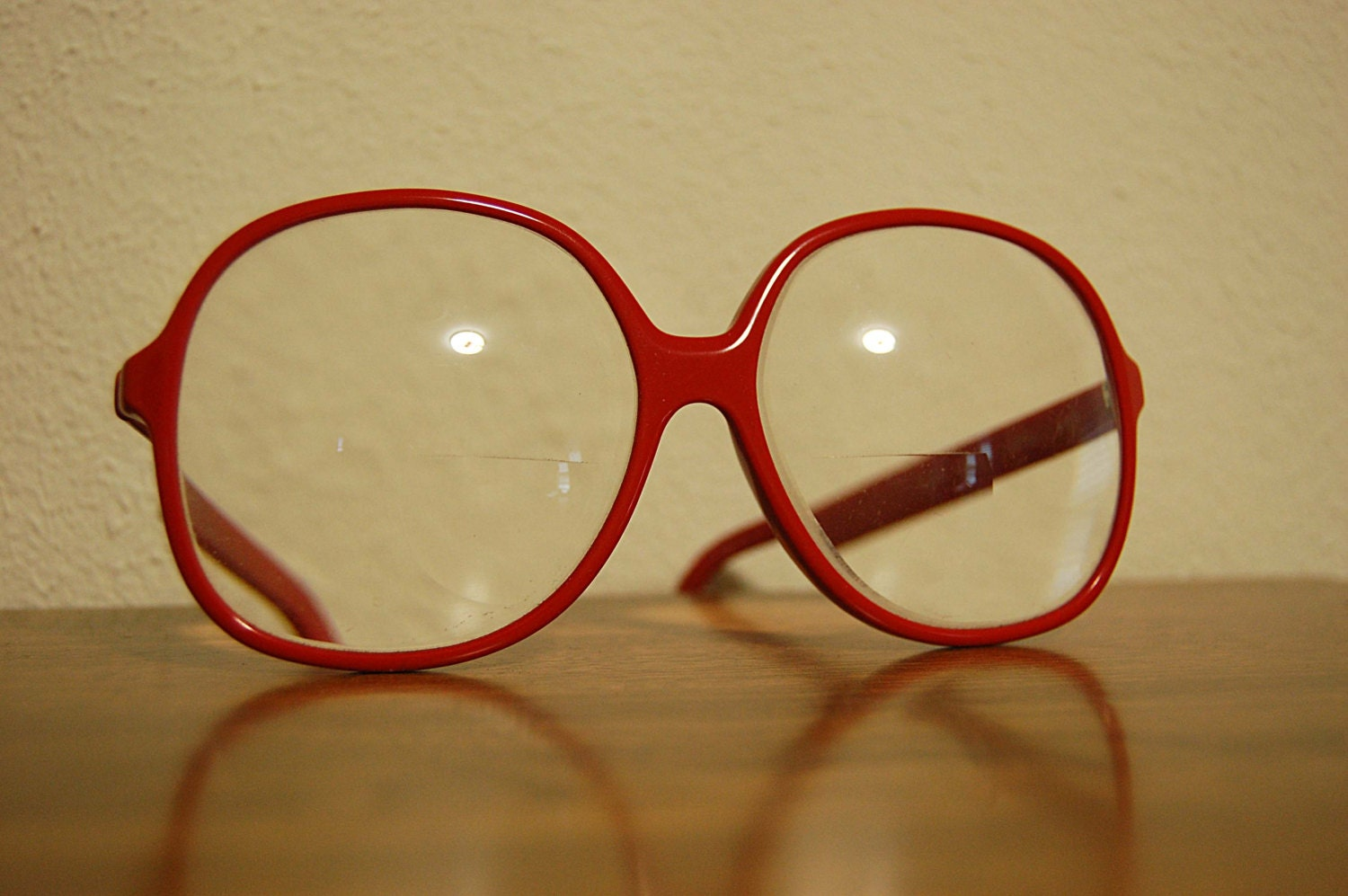 Big Red Frame Glasses : LIZ CLAIBORNE vintage 70s 80s big RED plastic eye glass frames