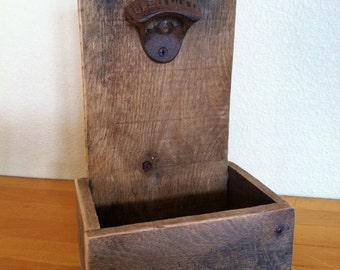 Rustic Cap Catcher, Bottle Opener, Reclaimed Wood, Handmade