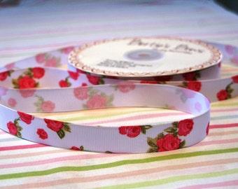 16mm Pale Blue Rose Print Grosgrain Ribbon