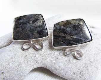 Pyrite in Jasper Pierced Earrings