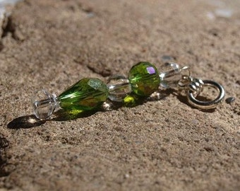 9#. Green and Clear Crystal Pendant.