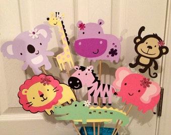 Girly Safari, Zoo, Animal themed Centerpiece, Monkey, Zebra, Elephant, Giraffe, Alligator and Hippo