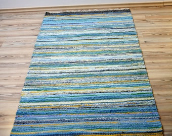 """Rug called """"The Mediterranean""""  - with light bluish-yellow stripes, Size: 35,53 in x 70,55 in (91 cm x 180 cm)"""