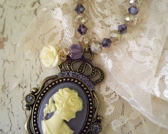 Victorian Style Cameo Necklace - Ready to Ship