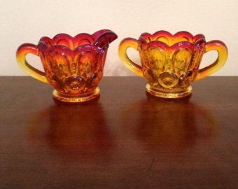 Vintage Red/Orange/Yellow Wheatonware Glass Cream & Sugar