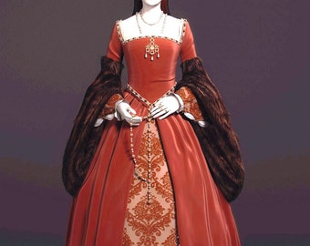 Custom made tudor medieval anne bolyn gothic medieval gown in your chosen colors and fabrics I will need your measurements on purchase
