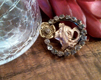 Art Nouveau Two Toned Gold Fill Brooch with Rhinestones