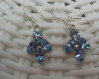 Sparkling Vintage Ice Blue Rhinestone Pierced Earrings Something Blue for Wedding