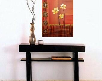 "Asian Symbols, Impasto Yellow Flowers w/ Gold Leaf,  Original Acrylic Canvas Painting, Decorative Art 16"" x 20"""