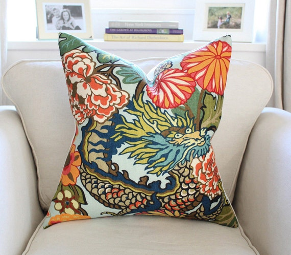 PAIR of Schumacher Chiang Mai Dragon Pillow Cover in Aquamarine