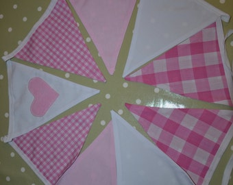 Pink and white double sided bunting