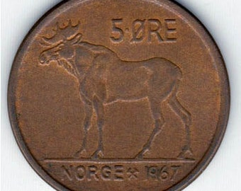 Coin Connoisseur - Vintage Moose or Elk coin from Norway - KM405 - circulated - large copper coin - read description