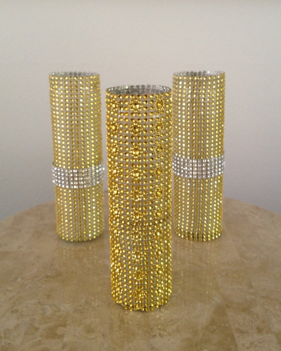 Items Similar To 3 Piece Gold Rhinestone Bling Mesh Glass