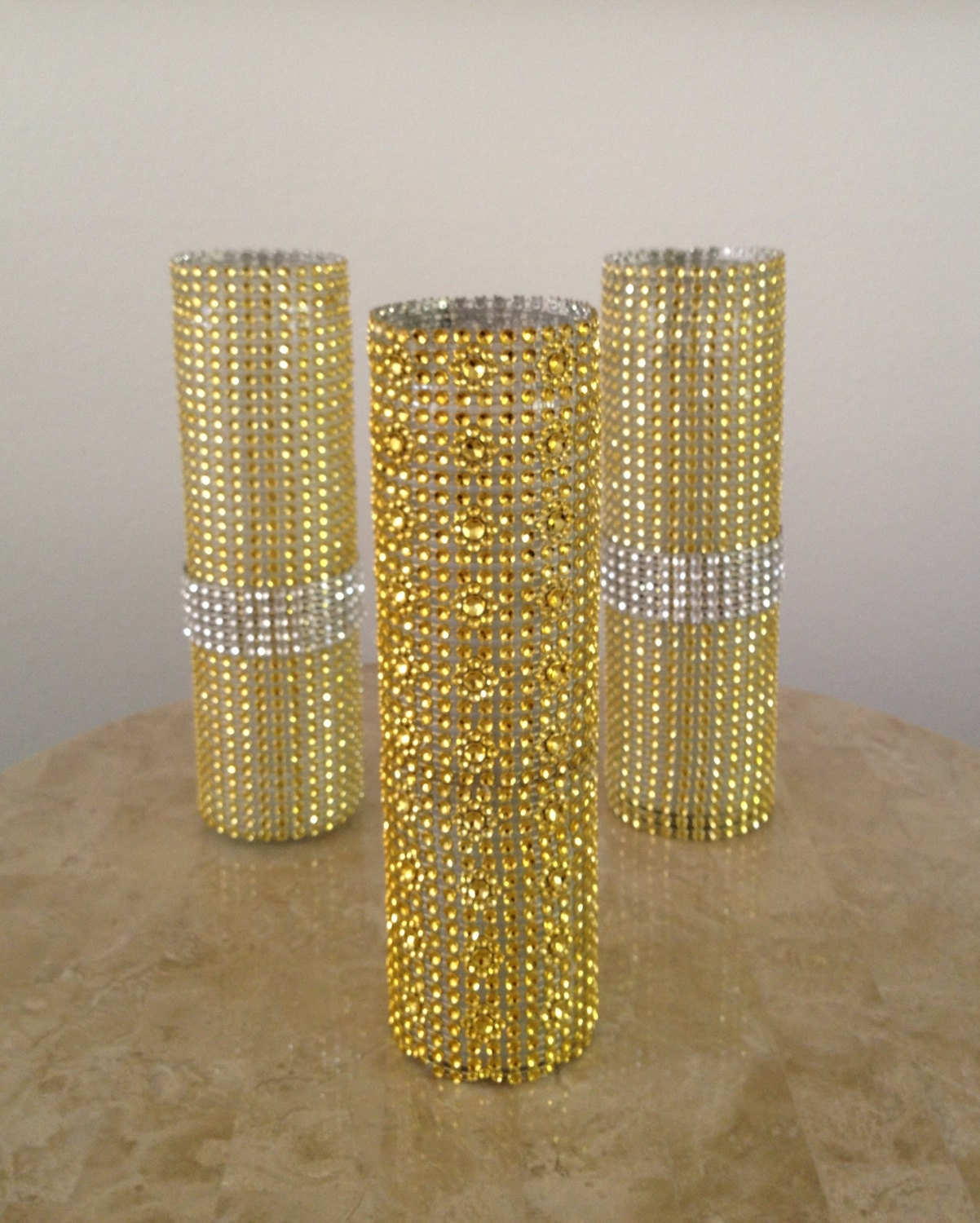 Piece gold rhinestone bling mesh glass candle by